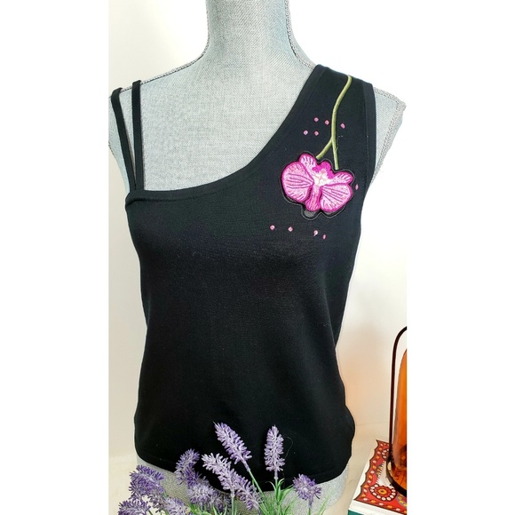 Cache Tops - Cache Blk One-shoulder Silk Floral Sleeveless Top